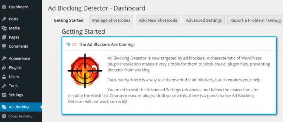 Plugin WordPress Ad Blocking Detector